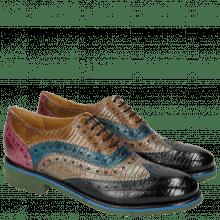 Oxford shoes Amelie 10 Guana Navy Light Grey Mid Blue Tortora Fuxia