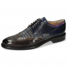 Derby shoes Henry 23 Deep Steel Navy Textile Check Turbo Mars
