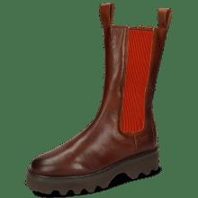 Boots Megan 14 Imola Mid Brown Elastic Ribbed Orange