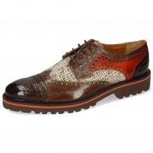 Derby shoes Henry 7 Baby Croco Mogano Mink Chestnut Textile
