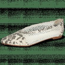 Ballet Pumps Alexa 33 Snake Ivory Big Net White