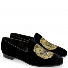 Loafers Scarlett 6 Velluto Black Embroidery Lion