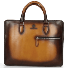 Leather briefcases Montreal M Vegas Tan Shade Dark Brown