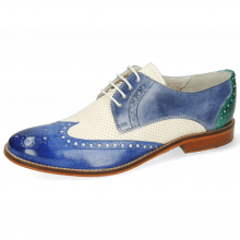Derby shoes Amelie 3 Vegas Neptune Blue Wind Vegas Perfo White