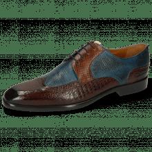 Derby shoes Elyas 2 Baby Croco Mid Brown Haina Blue