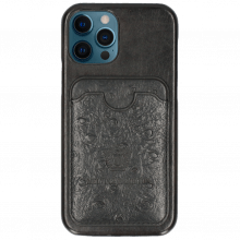 iPhone case Twelve Pro  Vegas Black Wallet Ostrich Black