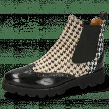 Ankle boots Selina 29 Black Hairon Tweed Textile Black White