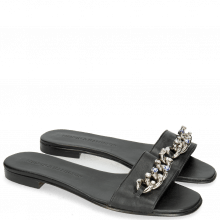 Mules Elodie 15 Nappa Black Chain Stone