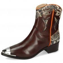 Ankle boots May 6 Mogano Snake Ivory Orange