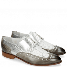 Derby shoes Jessy 38 Grigio Nappa Perfo Metal Silver
