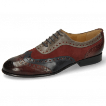 Oxford shoes Sally 97 Wine Navy Sheep Suede Wine Grigio