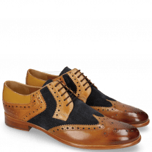 Derby shoes Clint 19 Tan Nubuck Perfo Deep Navy