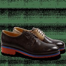 Derby shoes Amelie 9 Phyton Dark Brown Nappa Aztek Bronze Rook D Red EVA Blue