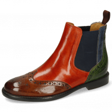 Ankle boots Selina 6 Wood Winter Orange Navy Green Elastic Navy