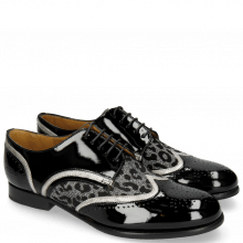 Derby shoes Sally 15 Patent Black Nappa Aztek Silver Leo