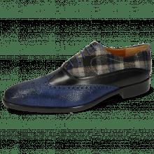 Oxford shoes Lewis 4 Python Electric Blue Black Textile Crayon