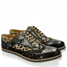 Oxford shoes Lena 1 Suede Brush Hair On Leo Black Silver Leo Beige Dots