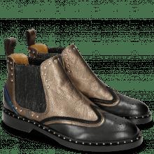 Ankle boots Sally 73 Black Nappa Aztek Bronze Elastic Glitter Welt Rivets