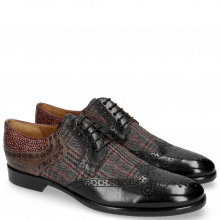 Derby shoes Clint 19 Black Textile Charcoal Stone Hairon Halftone Wine