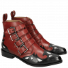 Ankle boots Marlin 16 Black Ruby Underlay Patent White Straps Ruby