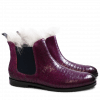 Ankle boots Susan 10 Crock Eggplant Fur Lining Taupe Elastic Navy HRS