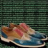 Derby shoes Leonardo 20 Baby Croco Mid Blue Perfo Ruby