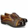 Derby shoes Amelie 19 Mid Brown Yellow Hairon Halftone Mogano Insole Purple