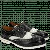 Derby shoes Matthew 14 Venice Crock Black White Rivets