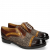 Derby shoes Amelie 19 Mid Brown Yellow Hairon Halftone Mogano Insole Brown