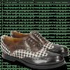 Oxford shoes Amelie 10 London Fog Hairon Tweed Black White Turtle Stone