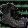 Ankle boots Bonnie 17 Nappa Black Fur Gold Rivets Velvet