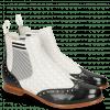 Ankle boots Selina 6 Black Nappa Perfo White Elastic Oxford Black White
