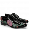 Derby shoes Eddy 38 Soft Patent Black Embroidery Flowers