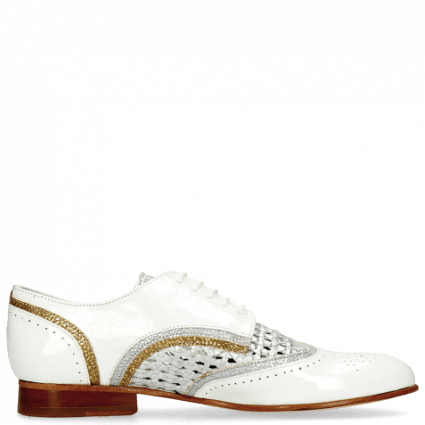 Derby shoes Sally 15 Soft Patent White Grafi Silver Navy Woven Lame