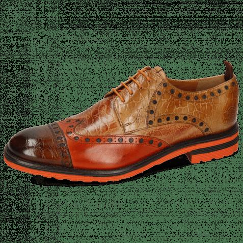 Derby shoes Eddy 48 Croco Wood Winter Orange Tan