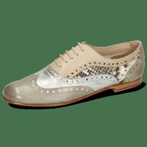 Oxford shoes Sonia 1 Vegas Light Grey Talca Steel Glove Nappa Ivory Snake