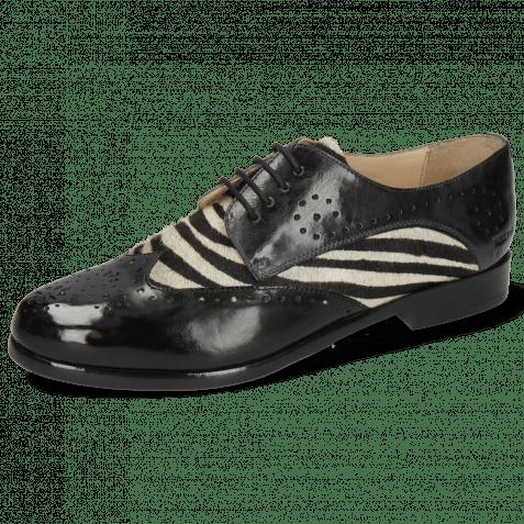 Derby shoes Selina 41 Imola Black London Fog Hairon Zebra
