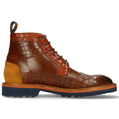 Ankle boots Matthew 9 Crock Mid Brown Winter Orange Suede Pattini