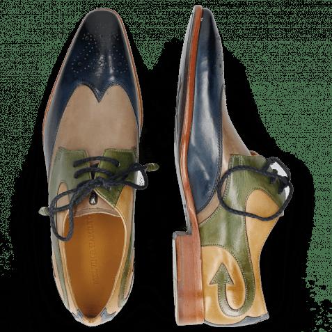 Derby shoes Elvis 63 Mock Navy Digital Bioalgae Olivine
