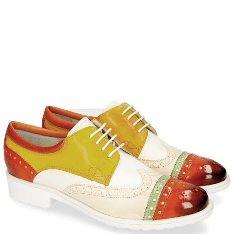 Derby shoes Amelie 85 Vegas Sweet Heart Nude White Yellow Glove Nappa Kumquat