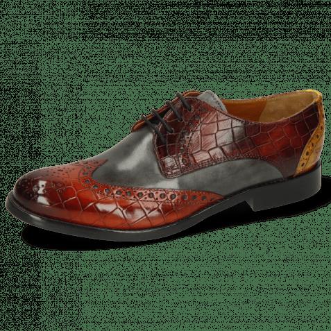 Derby shoes Amelie 3 Vegas Crock Brandy Plum Yellow Vegas Glicine Flex
