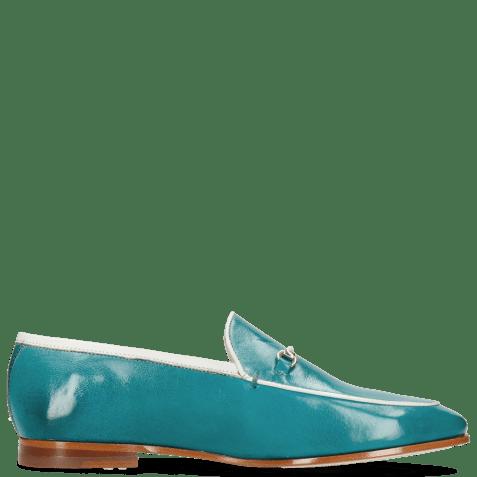 Loafers Scarlett 47 Pisa Turquoise Nappa Binding White Trim Gold