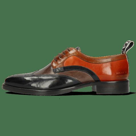 Derby shoes Betty 16 Navy Deep Steel Wood Winter Orange
