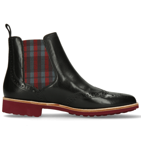 Ankle boots Selina 6 Black Elastic Check Red Grey