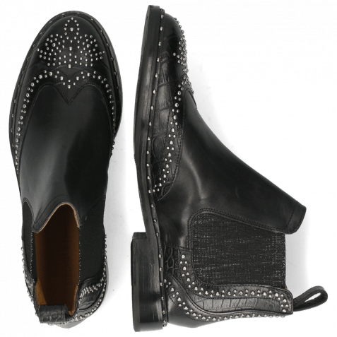 Ankle boots Sally 45 Big Croco Black Rivets