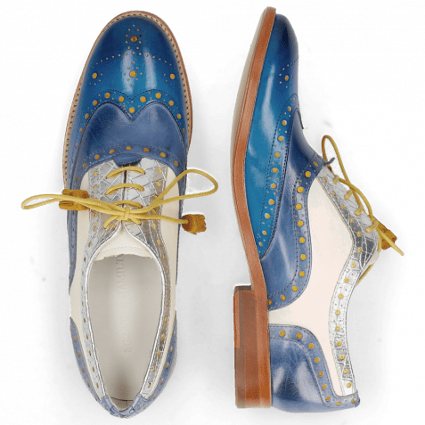 Oxford shoes Amelie 70 Vegas Mid Blue Wind Timor Silver White