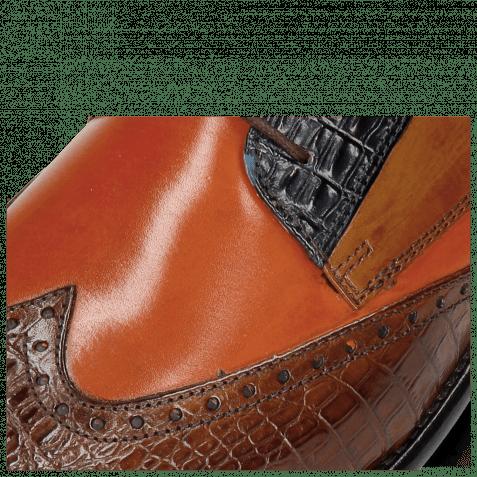 Derby shoes Leonardo 20 Baby Croco Wood Orange Navy Taupe