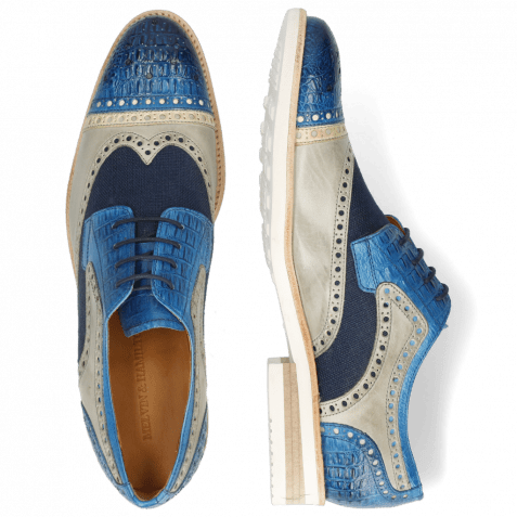 Derby shoes Henry 7 Vegas Baby Croco Mid Blue Nude Digital
