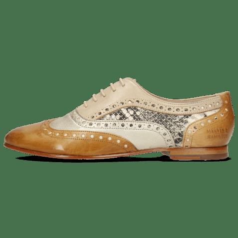 Oxford shoes Sonia 1 Vegas Sabbia Talca Platin Glove Nappa Ivory Snake