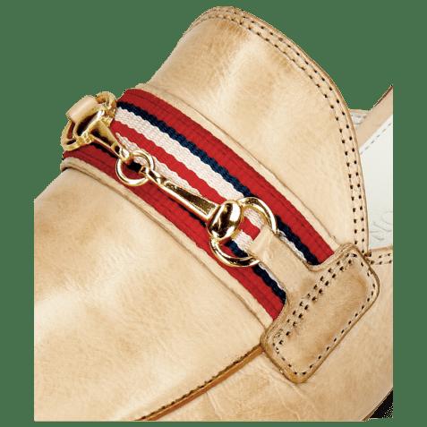 Mules Scarlett 46 Glove Nappa Ivory Tan Trim Gold